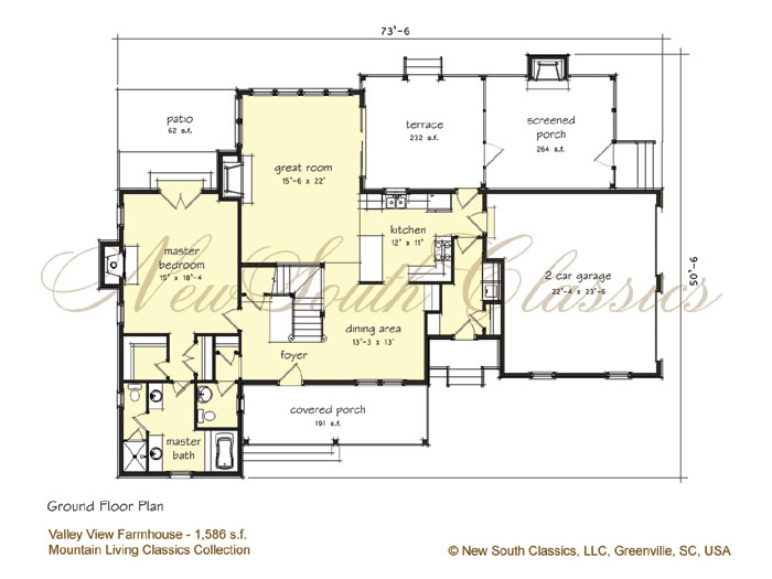 New south classics valley view farmhouse for House plans with great room in front
